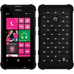 INSTEN Black/ Black TotalDefense Phone Case Cover for Nokia Lumia 520/ 521