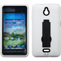 INSTEN Black/ White Phone Case Cover with Stand for Huawei H881C Ascend Plus