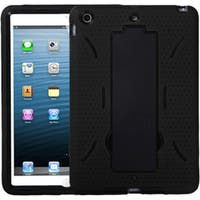 INSTEN Black Dual Layer Hybrid Rubber Silicone Tablet Case with Stand for Apple iPad Mini 1/ iPad Mini 2