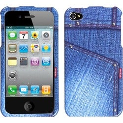 INSTEN Blue Jeans/ Studs Phone Case Cover for Apple iPhone 4S/ 4