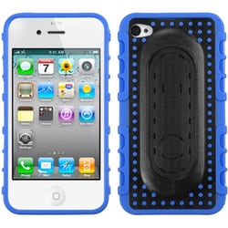 INSTEN Blue Massage/ Dots Snap Tail Stand Phone Case Cover for Apple iPhone 4S/ 4