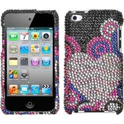 INSTEN Bubble Hearts/ Diamante iPod Case Cover for Apple iPod touch 4