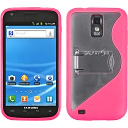 INSTEN Clear/ Hot Pink Phone Case Cover with Stand for Samsung Galaxy S2 T990