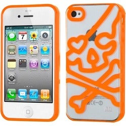 INSTEN Clear/ Orange Skullcap Gummy Phone Case Cover for Apple iPhone 4S/ 4