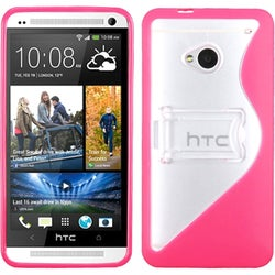 INSTEN Clear/ Solid Hot Pink S Shape Gummy Stand Phone Case Cover for HTC One/ M7