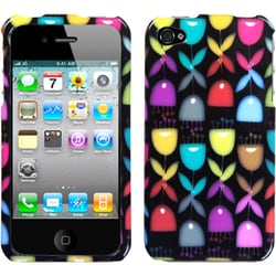 INSTEN Colorful Flower Buds/ Black Phone Case Cover for Apple iPhone 4/ 4S