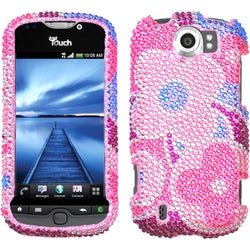 INSTEN Colorful Flowers/ Diamante Phone Case Cover for HTC myTouch 4G Slide