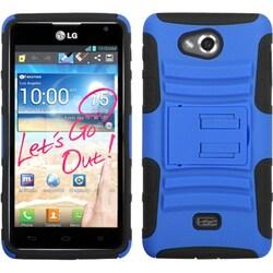 INSTEN Dark Blue/ Black Armor Stand Phone Case Cover for LG MS870 Spirit 4G