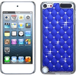 Insten Blue/ Silver Lattice Hard Snap-on Chrome Rubberized Matte Case Cover with Diamond For Apple iPod Touch 5th/ 6th Gen