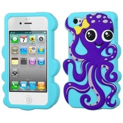 INSTEN Dark Purple/ Baby Blue Octopus Phone Case Cover for Apple iPhone 4/ 4S