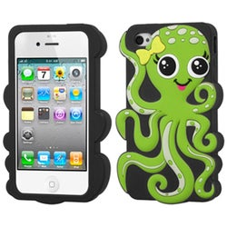 INSTEN Green/ Black Octopus Pastel Skin Phone Case Cover for Apple iPhone 4/ 4S