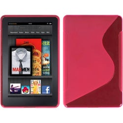 Insten Hot Pink S-shape TPU Rubber Candy Phone Case for Amazon Kindle Fire 1st Gen 2011 7-inch Display
