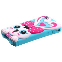 INSTEN Hot Pink/ Baby Blue Rabbit Phone Case Cover for Apple iPhone 4/ 4S