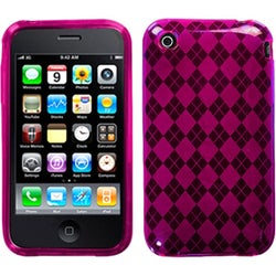 INSTEN Hot Pink/ Argyle Candy Skin Phone Case Cover for Apple iPhone 3GS/ 3G