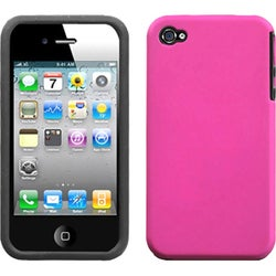 INSTEN Hot Pink Fusion Rubberized Phone Case Cover for Apple iPhone 4/ 4S