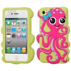 INSTEN Hot Pink/ Grass Green Octopus Phone Case Cover for Apple iPhone 4/ 4S