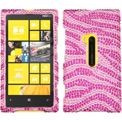 INSTEN Hot Pink/ Pink Zebra Skin Diamante Phone Case Cover for Nokia 920 Lumia
