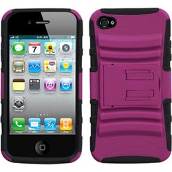 INSTEN Hot Pink/ Black Armor Stand Phone Case Cover for Apple iPhone 4/ 4S