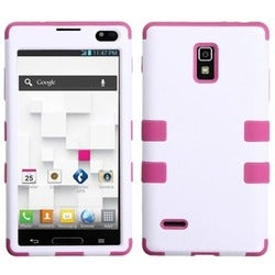 INSTEN Ivory White/ Hot Pink TUFF Hybrid Phone Case Cover for LG P769 Optimus L9