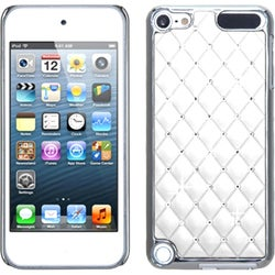 Insten White/ Silver Lattice Hard Snap-on Chrome Rubberized Matte Case Cover with Diamond For Apple iPod Touch 5th/ 6th Gen
