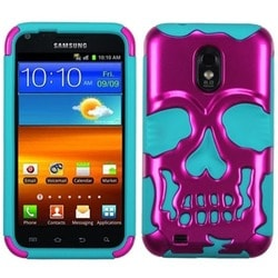 INSTEN Pink/ Teal Skullcap Phone Case Cover for Samsung Galaxy S2