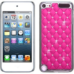 Insten Pink/ Silver Lattice Hard Snap-on Chrome Rubberized Matte Case Cover with Diamond For Apple iPod Touch 5th/ 6th Gen
