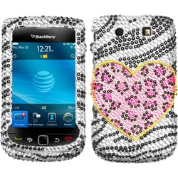 INSTEN Playful Leopard Diamond Phone Case Cover for Blackberry Torch 9800/ 9810 4G
