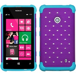 INSTEN Purple/ Tropical Teal TotalDefense Phone Case Cover for Nokia 521 Lumia