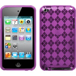 INSTEN Purple Argyle Candy Skin iPod Case Cover for Apple iPod touch 4