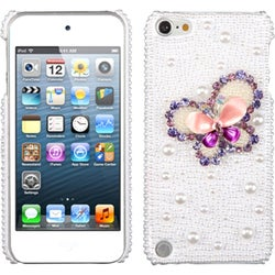 Insten White/ Purple 3D Butterfly Hard Snap-on Rhinestone Bling Case Cover For Apple iPod Touch 5th/ 6th Gen