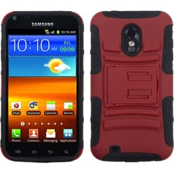 INSTEN Red/ Black Armor Stand Phone Case Cover for Samsung Galaxy S2 4G/ R760