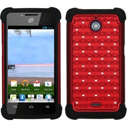 INSTEN Red/ Black TotalDefense Phone Case Cover for Huawei H881C Ascend Plus