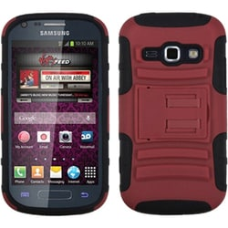 INSTEN Red/ Black Phone Case Cover with Stand for Samsung M840 Galaxy Prevail 2