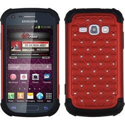 INSTEN Red/ Black TotalDefense Phone Case Cover for Samsung M840 Galaxy Ring