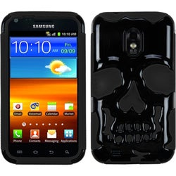 INSTEN Solid Black/ Black Skullcap Phone Case Cover for Samsung Galaxy S2
