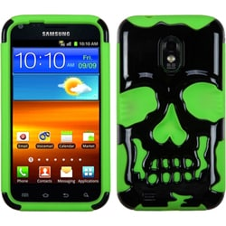 INSTEN Solid Black/ Green Skullcap Phone Case Cover for Samsung Galaxy S2