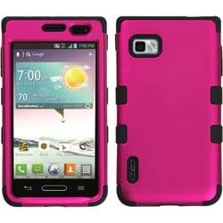 INSTEN Solid Hot Pink/ Black TUFF Phone Case Cover for LG VM720 Optimus F3