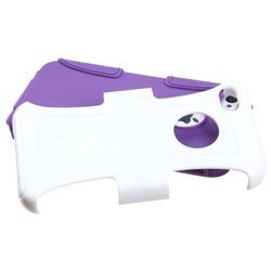 INSTEN Solid Ivory White/ Purple Frosted Phone Case Cover for Apple iPhone 4/ 4S