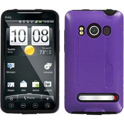 INSTEN Solid Purple/ Black Fusion Phone Case Cover for HTC EVO 4G