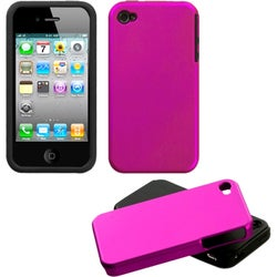 INSTEN Titanium Solid Hot Pink Fusion Phone Case Cover for Apple iPhone 4/ 4S