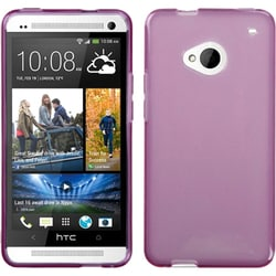 INSTEN Transparent/ Purple Skin Phone Case Cover for HTC One/ M7
