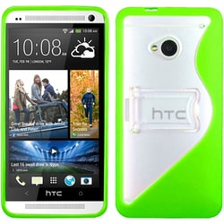 INSTEN Transparent Clear/ Green S-shape Stand Phone Case Cover for HTC One/ M7