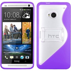 INSTEN Transparent Clear/ Solid Purple Stand Phone Case Cover for HTC One/ M7
