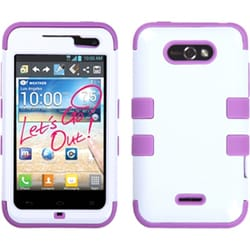 INSTEN White/ Electric Purple TUFF Hybrid Phone Case Cover for LG MS770 Motion 4G