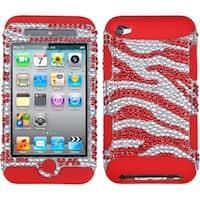 INSTEN Zebra Silver/ Red Diamante TUFF iPod Case Cover for Apple iPod Touch 4