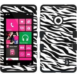 INSTEN Zebra Skin/ Black TUFF Hybrid Phone Case Cover for Nokia 521 Lumia