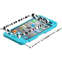 INSTEN Zebra Skin/ Tropical Teal TUFF iPod Case Cover for Apple iPod Touch 4