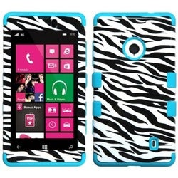 INSTEN Zebra Skin/ Tropical Teal TUFF Hybrid Phone Case Cover for Nokia 521 Lumia