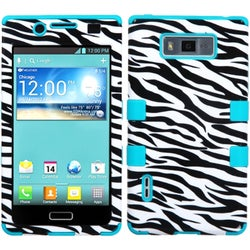INSTEN Zebra Skin/ Teal TUFF Hybrid Phone Case Cover for LG US730/ Splendor