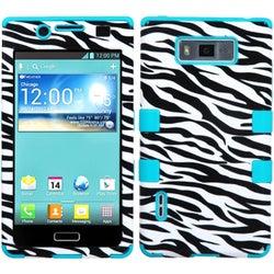 INSTEN Zebra Skin/ Teal TUFF Hybrid Phone Case Cover for LG US730/ Splendor